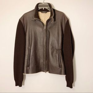 Hugo Boss Shearling Leather Jacket in Brown 42R